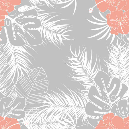 Summer seamless tropical pattern with monstera palm leaves and plants on gray background Illustration