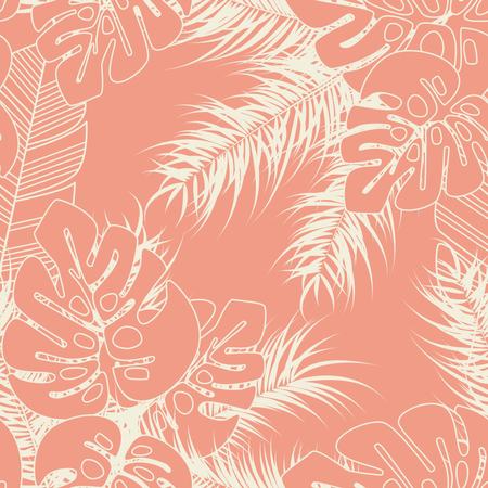 Summer seamless tropical pattern with monstera palm leaves and plants on pink background Illustration