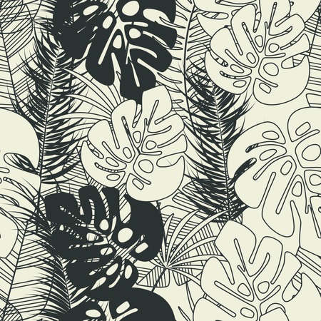 Summer seamless tropical pattern with monstera palm leaves and plants on vanilla background Illustration