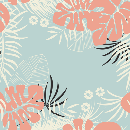 Summer seamless tropical pattern with monstera palm leaves, plants and flowers on blue background Illustration