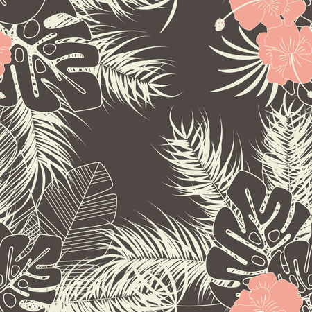 Summer seamless tropical pattern with monstera palm leaves, plants and flowers on brown background Illustration