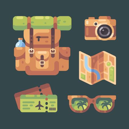 Summer Travel Item Set Illustration