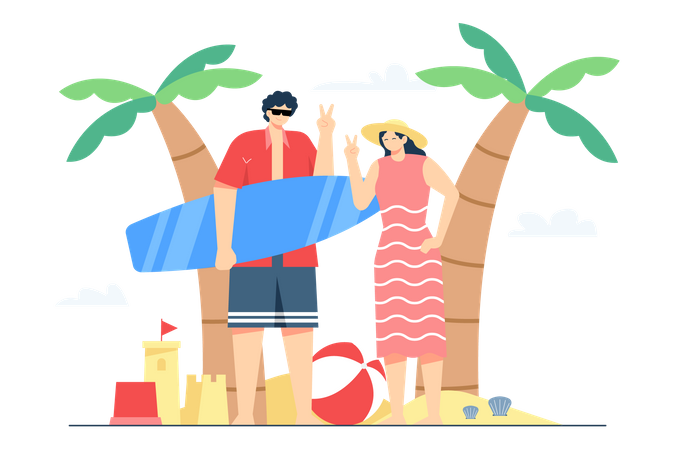 Summer vacation with family Illustration