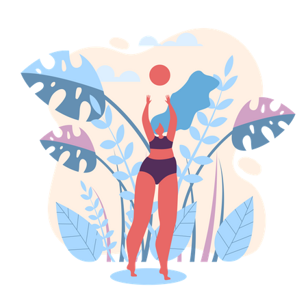Summer Volleyball on Beach Vector Illustration. Illustration
