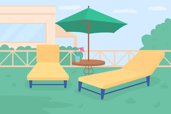Sunbathing area in own garden Illustration