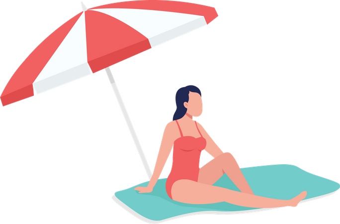 Sunbathing under sun umbrella Illustration