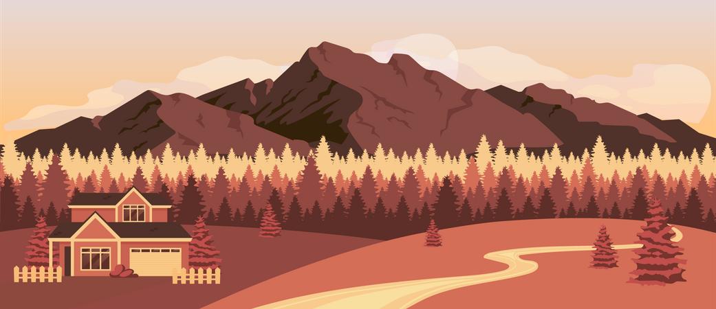 Sunset in mountains Illustration