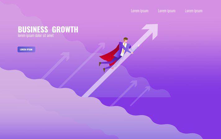 Super Businessman flying and holding arrow up over the sky Illustration