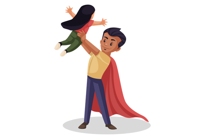 Super dad playing with his daughter Illustration