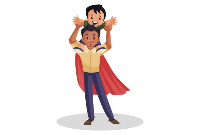 Super dad playing with his son Illustration