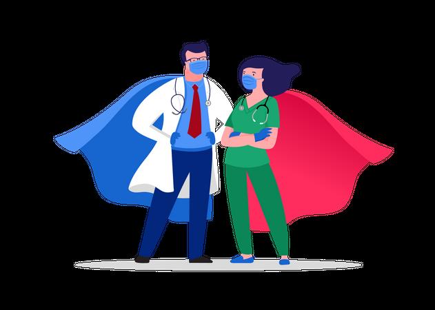 Super doctor and nurse Illustration