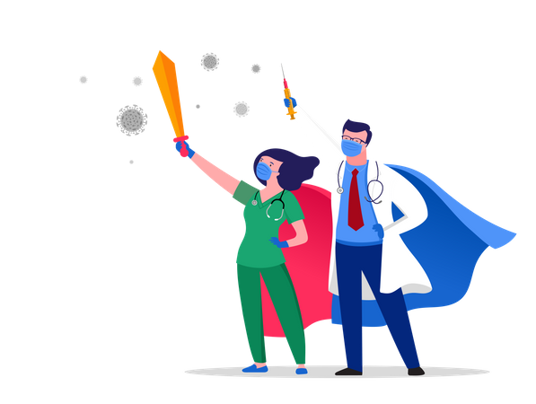 Super doctor and nurse wearing medical masks and fighting against corona Illustration