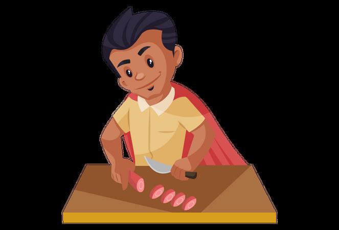 Super man chopping vegetables Illustration