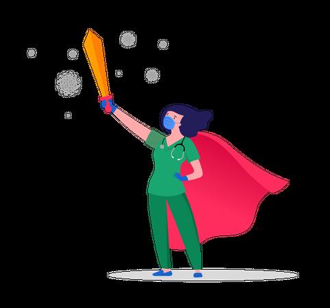 Super nurse holding sword Illustration