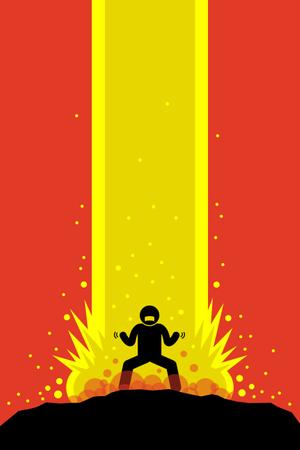 Super power man charging Illustration