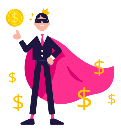 Superhero Businessman mascot with money, big earning solution mascot Illustration