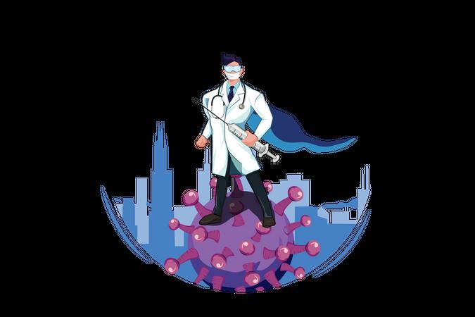 Superhero Doctor Fighting with Virus Illustration