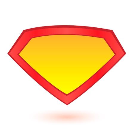 Superhero logo template at bright blue, pop art background Illustration