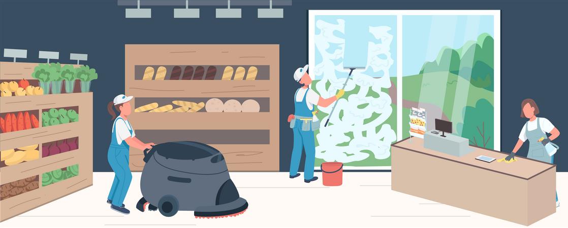 Supermarket cleaning Illustration