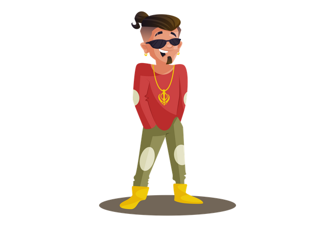 Superstar is standing with hands in pocket Illustration