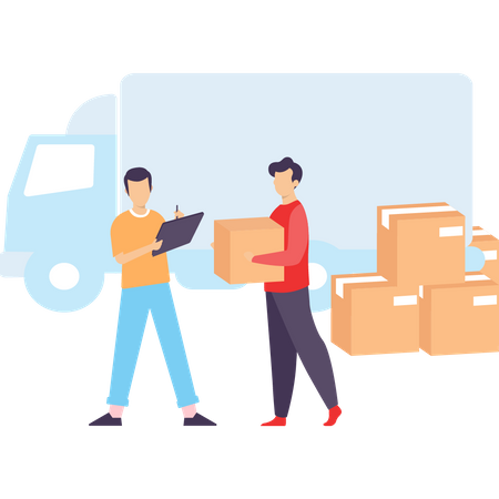 Supervisor noting parcel of Delivery Illustration