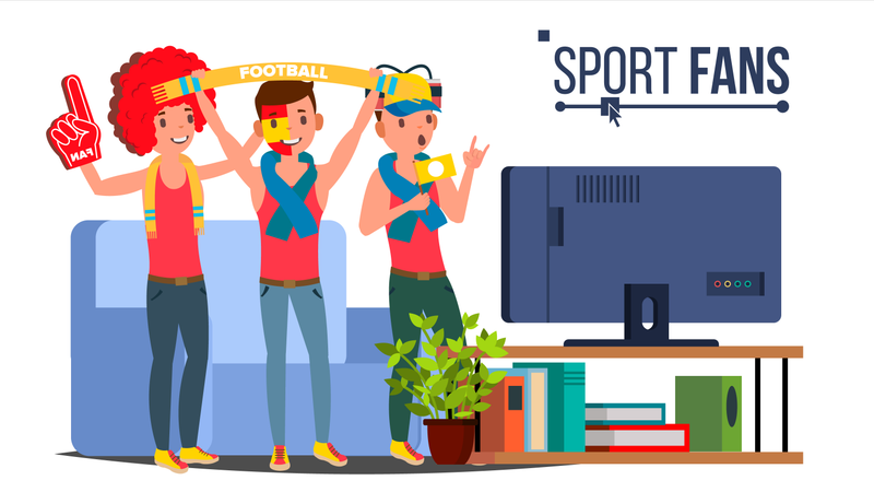 Supporter Watching Match On TV Illustration