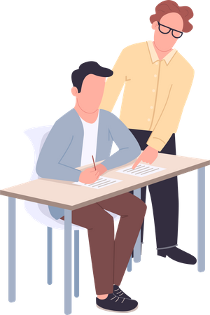 Supportive tutor helping student Illustration
