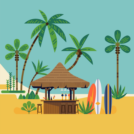 Surf beach with cocktail bar, surf boards and palm trees Illustration