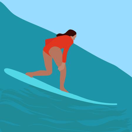 Surfer girl riding a surfboard Illustration