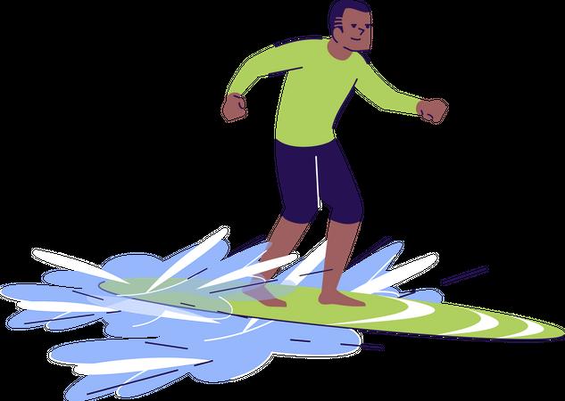 Surfing man Illustration
