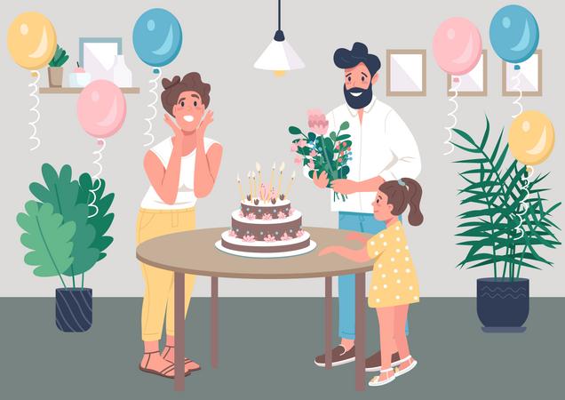 Surprise birthday party Illustration