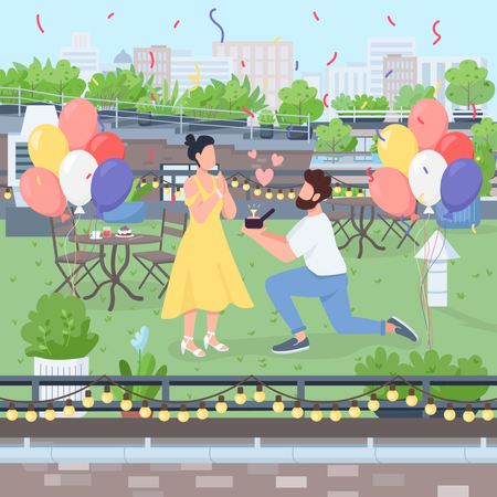 Surprise marriage proposal Illustration