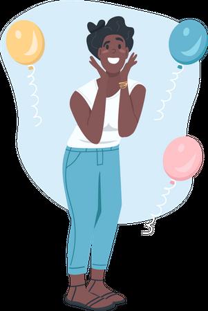 Surprised African American female Illustration