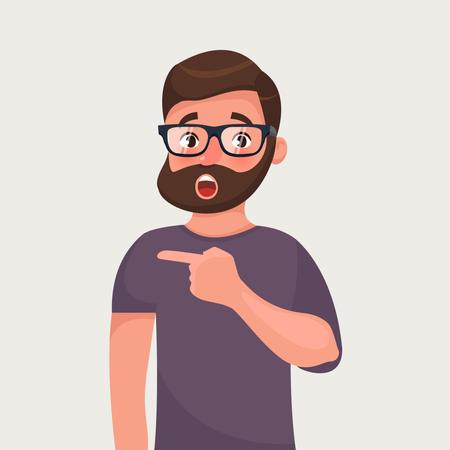 Surprised hipster beard man points Illustration
