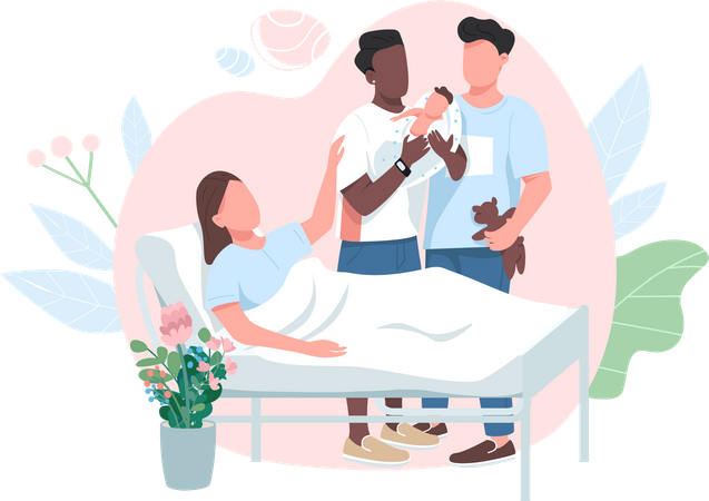 Surrogate Mother and gay couple Illustration