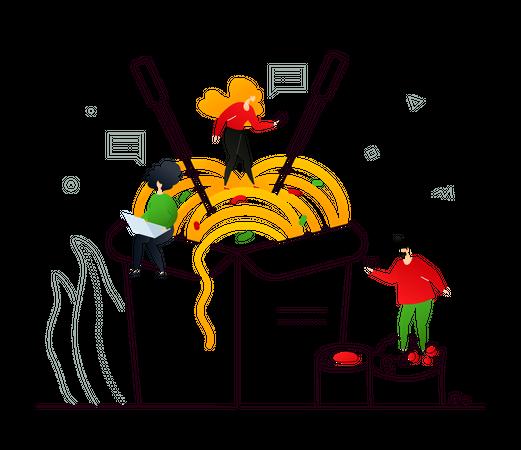 Sushi and Wok Illustration