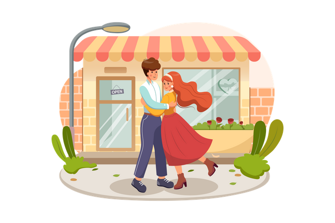 Sweet couple hugging each other in the middle of the street in a romantic way Illustration