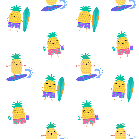 Sweet summer seamless pattern - cute pineapples characters surfing Illustration