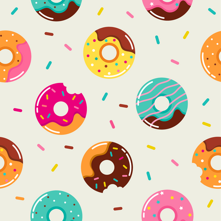 Sweet summer seamless pattern with donuts illustrations Illustration
