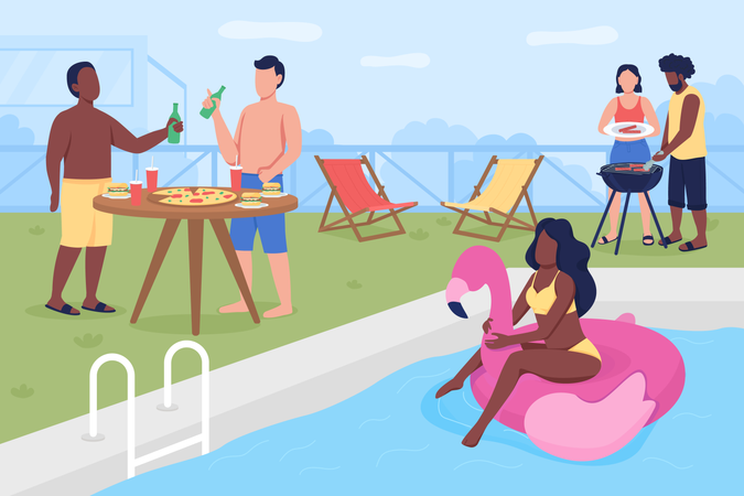 Swimming pool party Illustration