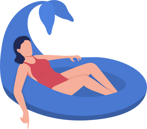 Swimming with dolphin pool float Illustration