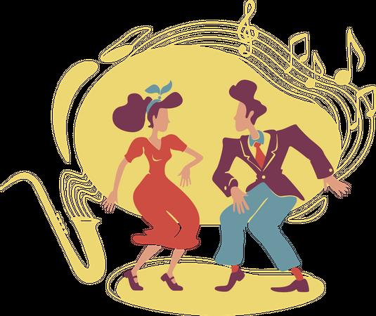 Swing jazz party Illustration