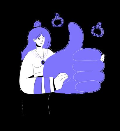 Sylish smiling girl holding a big thumb up Illustration