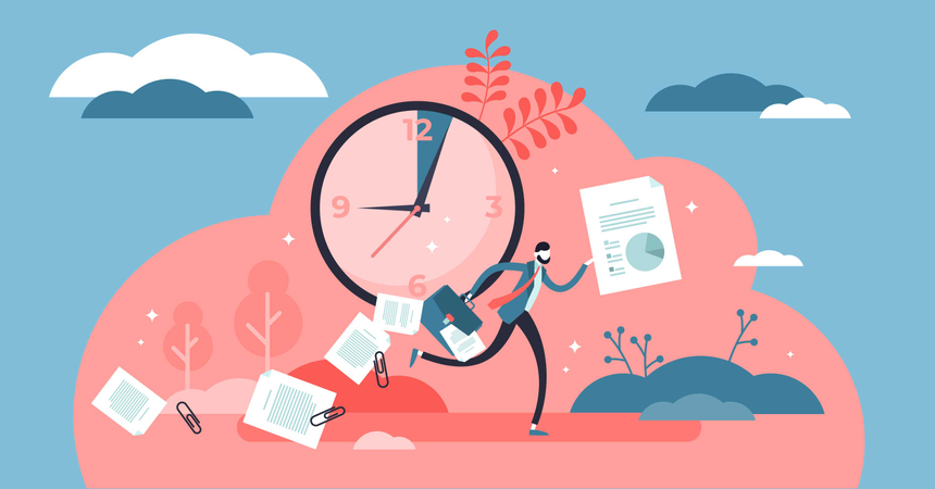 Symbolic clock deadline and last minute rush Illustration