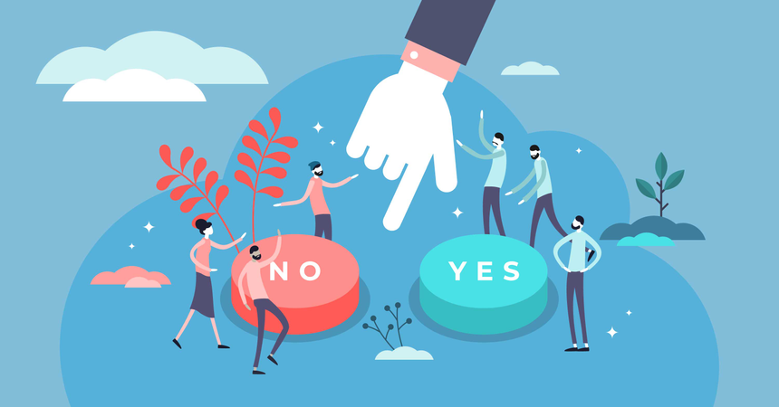 Symbolic scene with yes or no answers and decision making Illustration