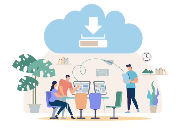 Synchronizing, Sharing, Backup Files with Online Cloud Service Illustration
