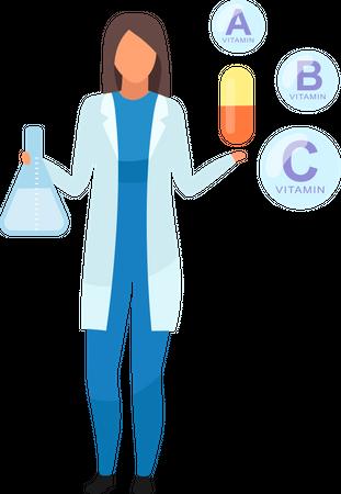 Synthetic vitamins consumption Illustration