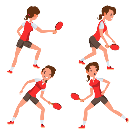 Table Tennis Female Player With Playing Gesture Illustration