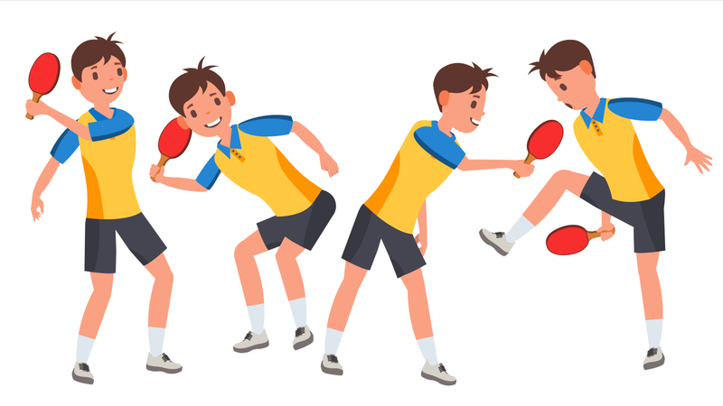 Table Tennis Male Player Illustration