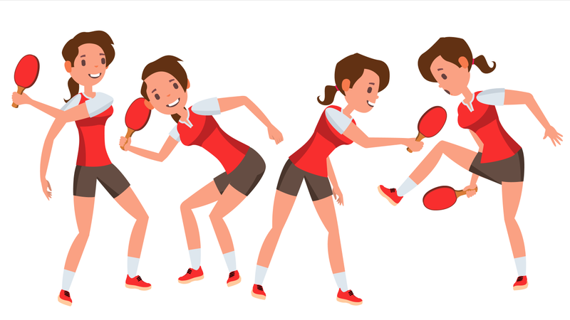 Table Tennis Player Female Vector With Different Gesture Illustration